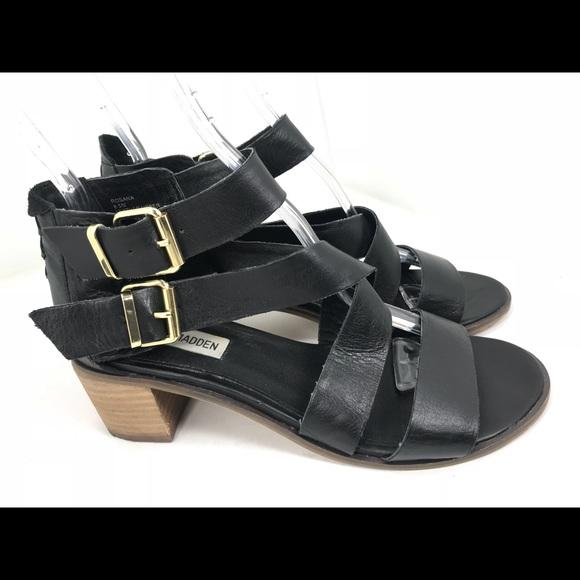 866181f4a36 Steve Madden rosana Black Leather Sandals Heel 8.5